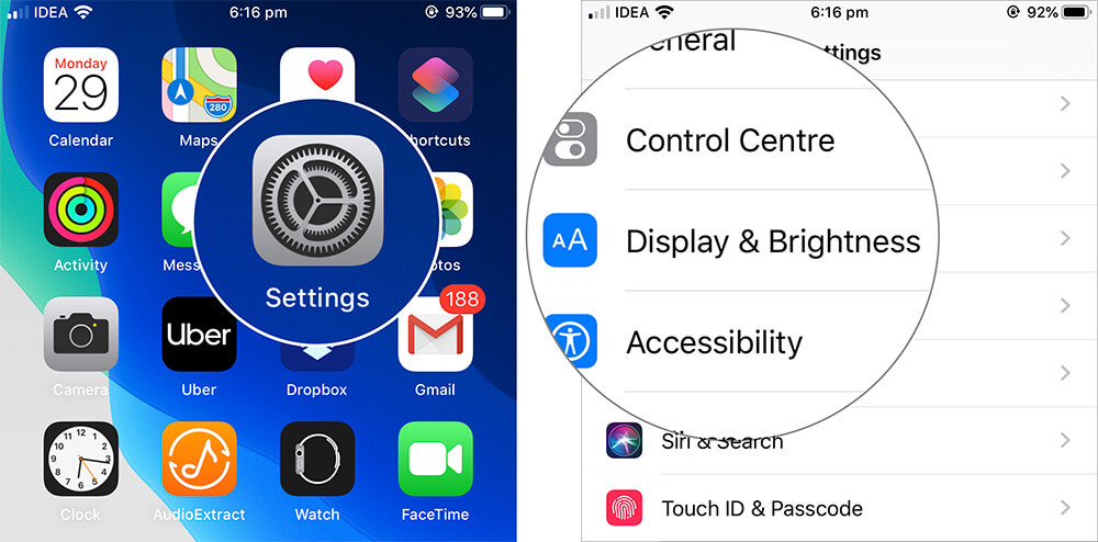 Open Settings on iPhone and Tap on Display and Brightness