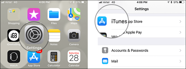 Open Settings then iTunes and App Store on iPhone