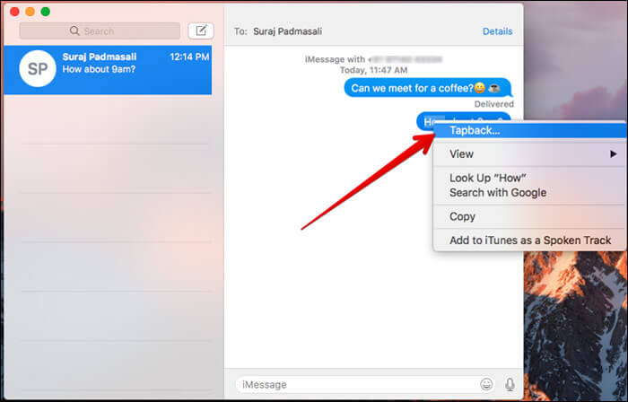 Open Shortcut menu and select Tapback in Mac Messages App