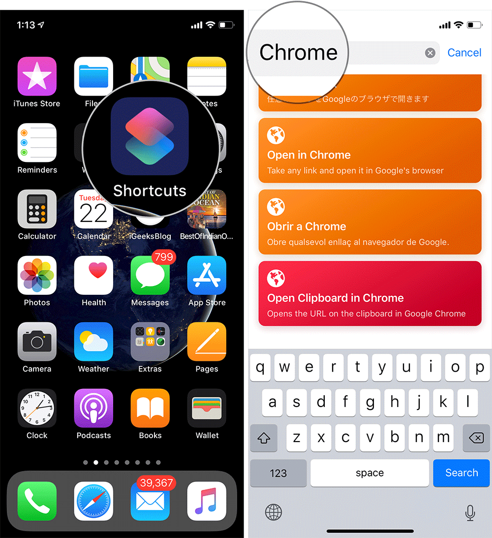 Open Shortcuts App and Search for Chrome on iPhone or iPad