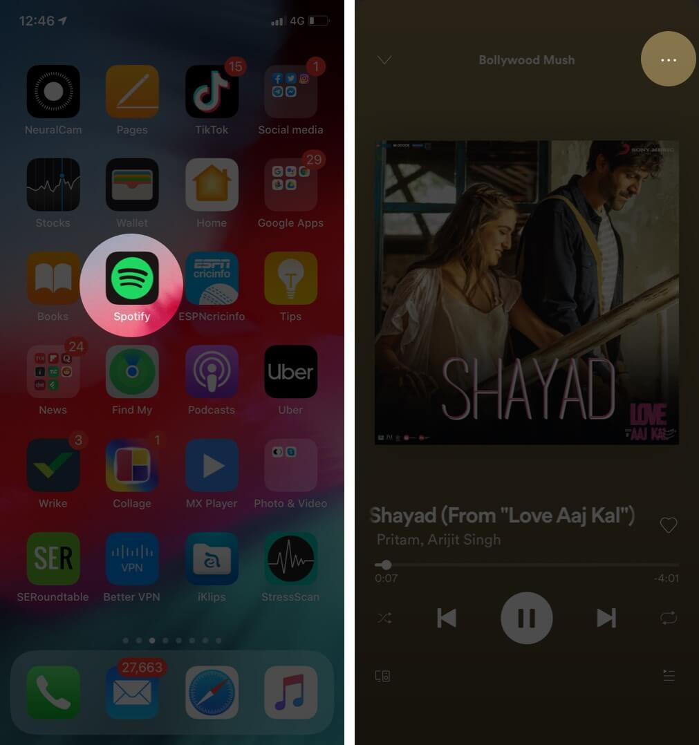 Open Spotify App and tap on three dot which song you want to share
