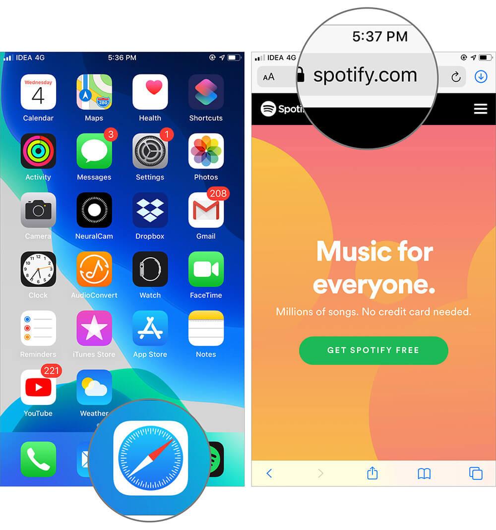 Open Spotify Web in Safari App on iPhone