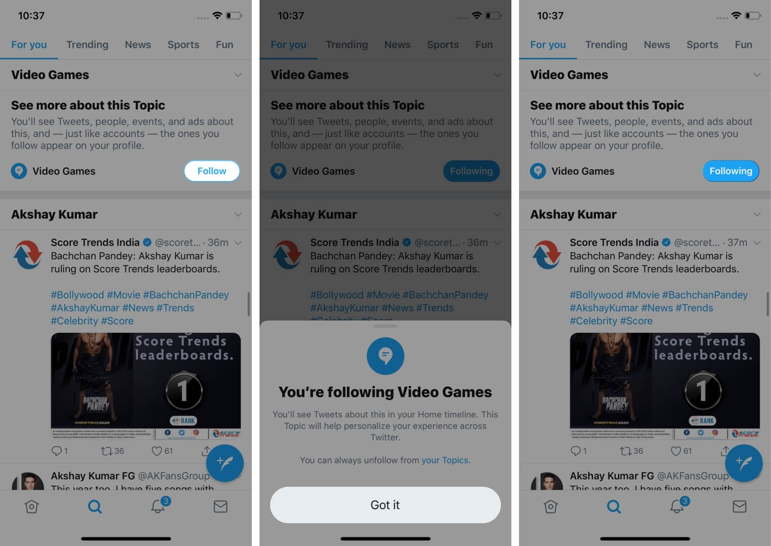 Open Topic and Tap on Follow in iOS Twitter App