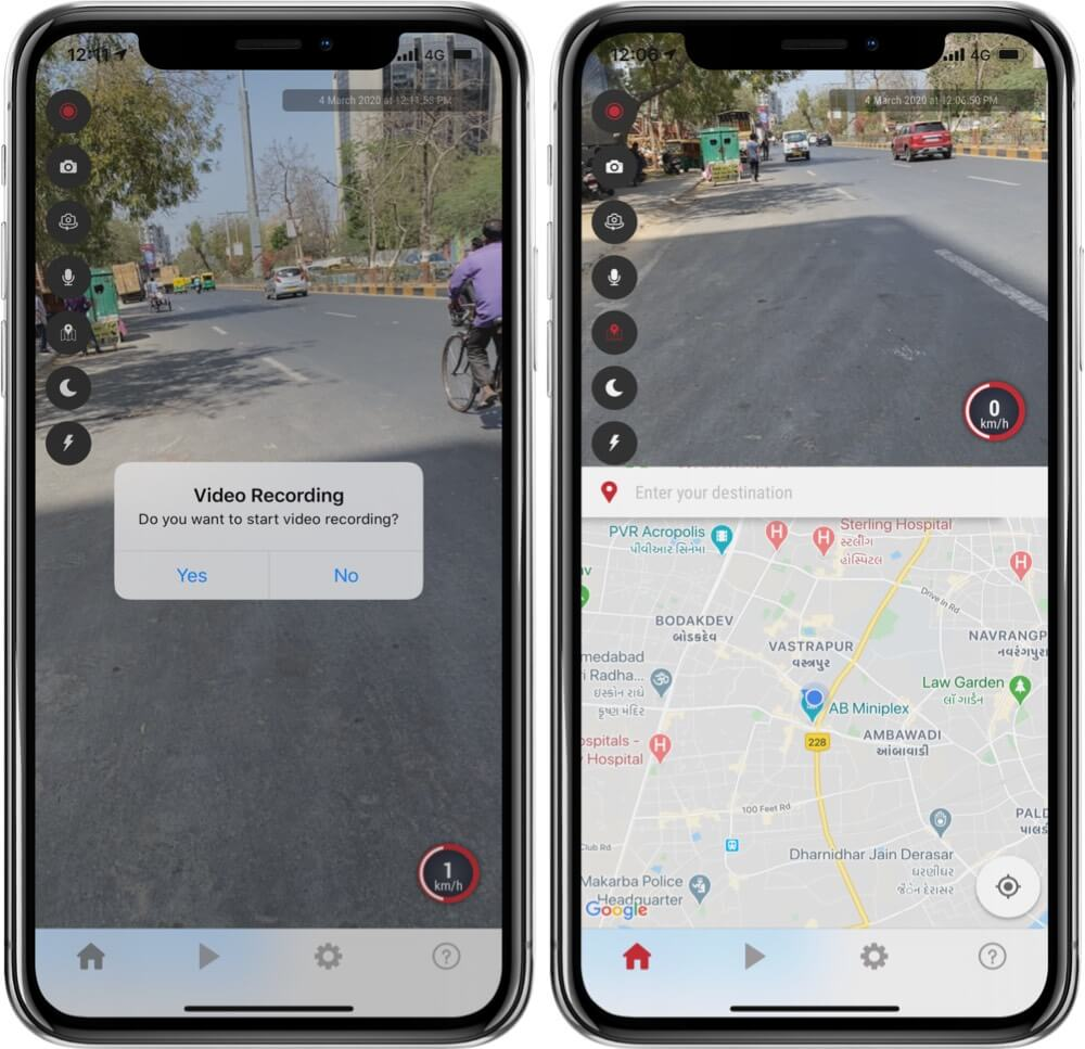 Open UltimateDashCam app to Start Navigation and Video Recording