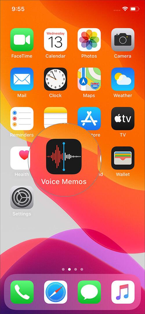 Open Voice Memos App on iPhone