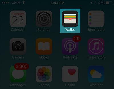 Open Wallet App on iPhone