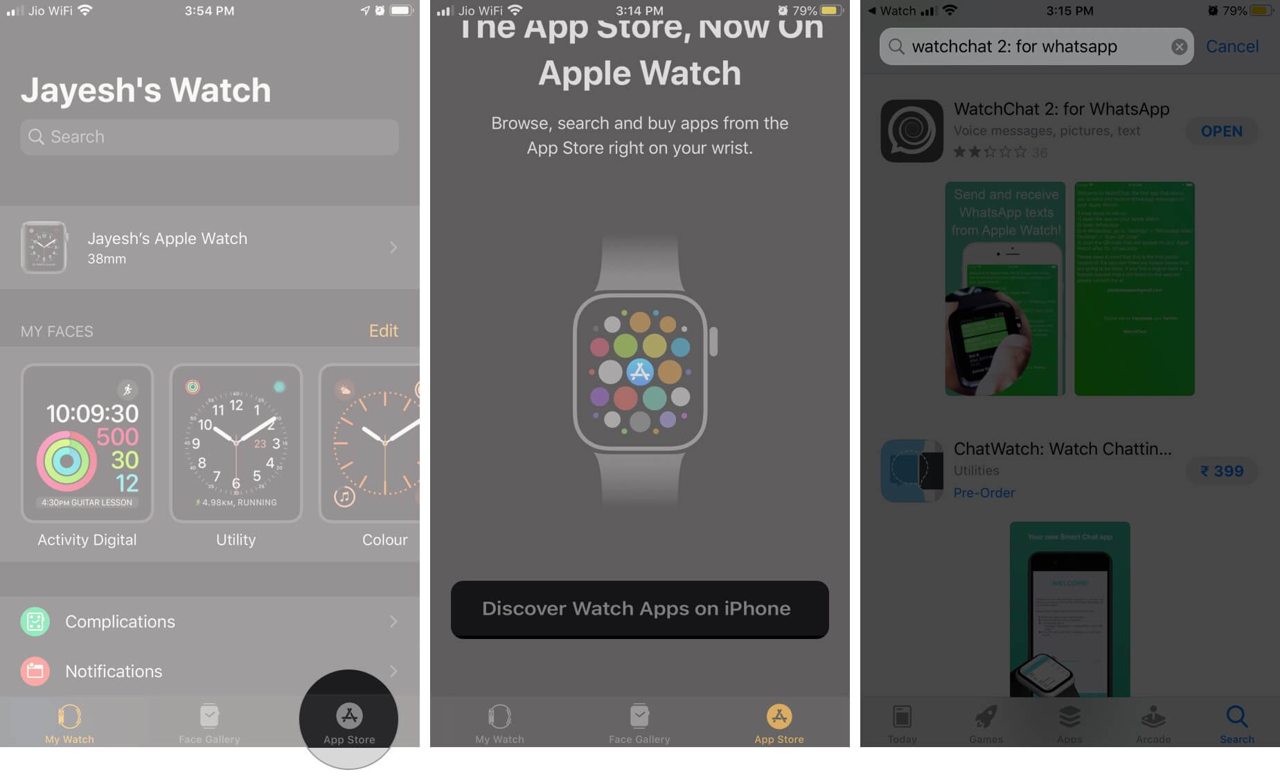 Open Watch App and Select App Store Then Tap Discover Watch Apps on iPhone and Search WatchChat 2