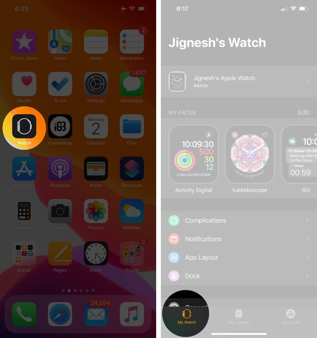 Open Watch App and Tap on My Watch Tab on iPhone