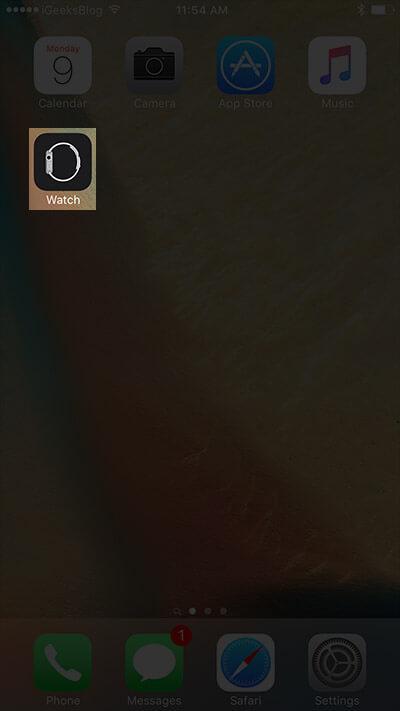 Open Watch App on iPhone