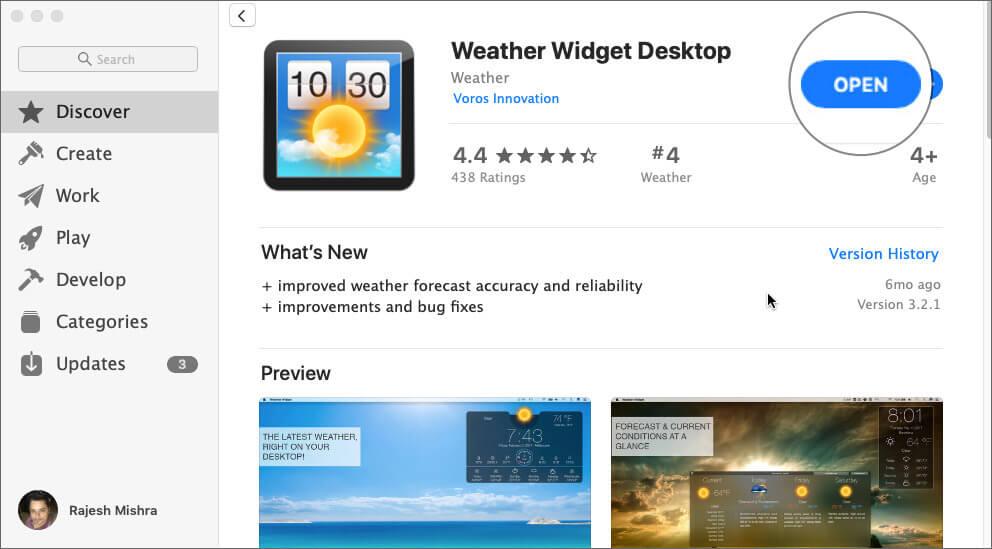 Open Weather Widget Desktop on your Mac