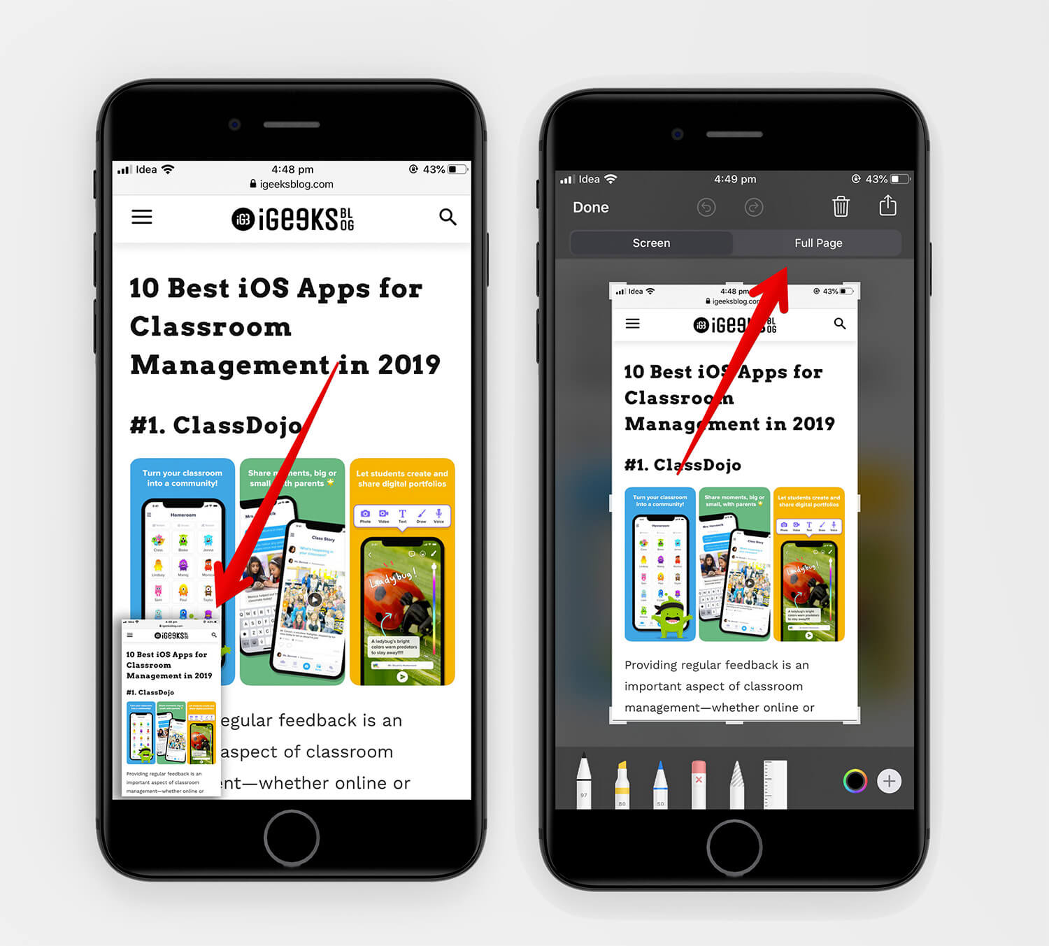Open Webpage Screenshot and tap on Full page in iOS 13 Screenshot Markup