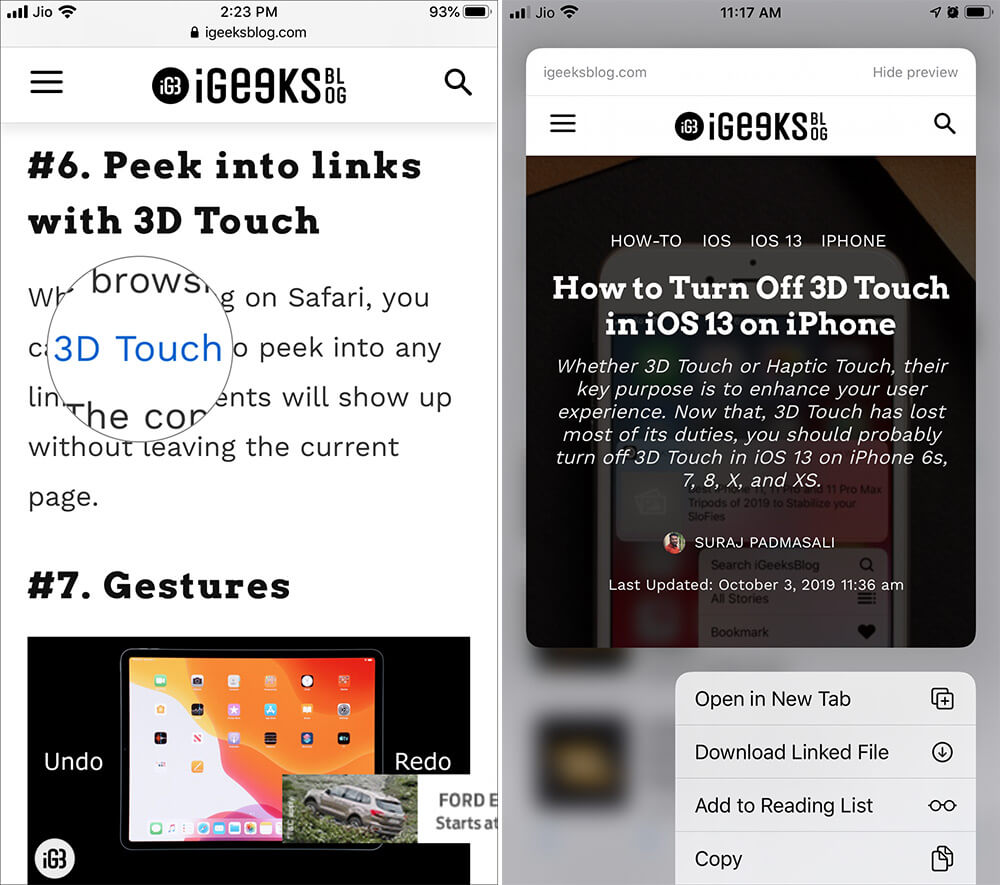 Open Webpage and Touch hold Hyperlink to Disable Link Preview in iOS 13