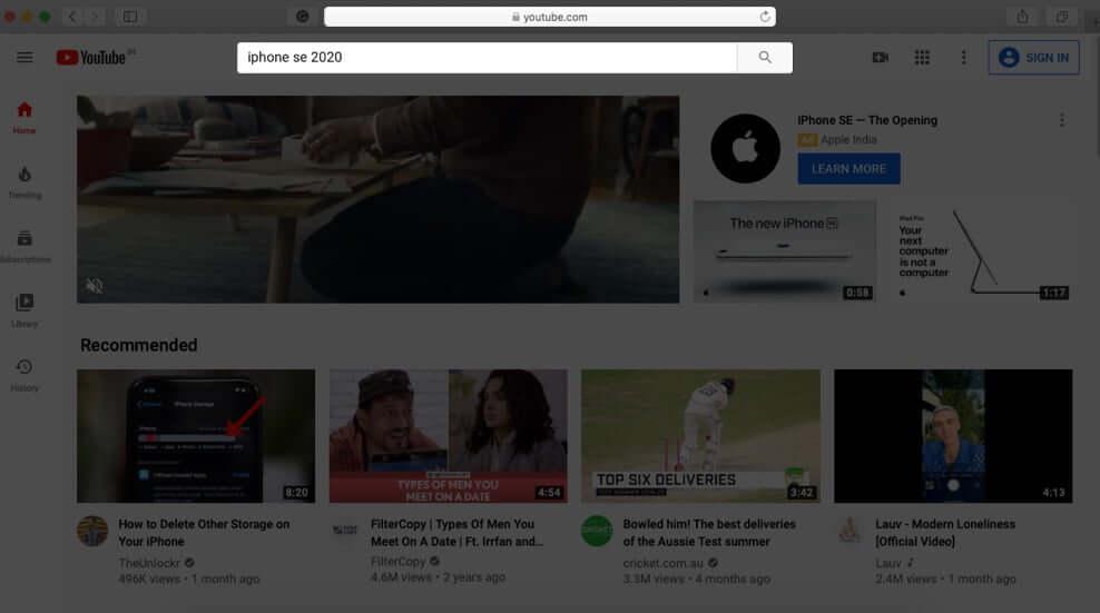 Open YouTube in Safari and Search Video
