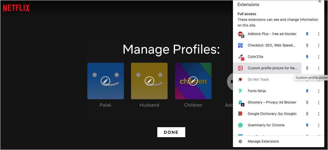 Open extensionCustom Profile Picture for Netflix