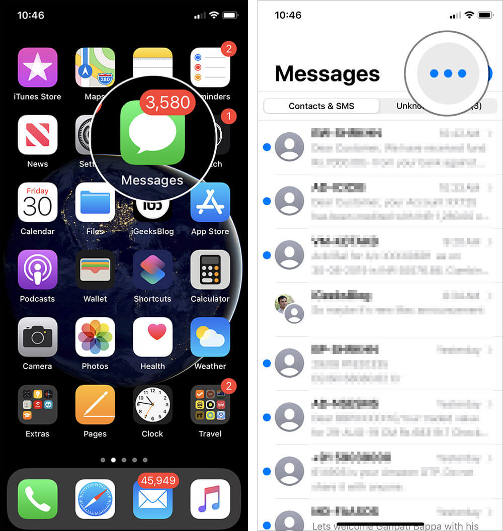 Open iMessage App and Tap Ellipsis in iOS 13