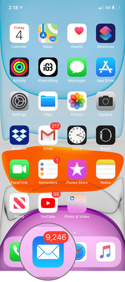 Open iOS 13 Mail App on iPhone