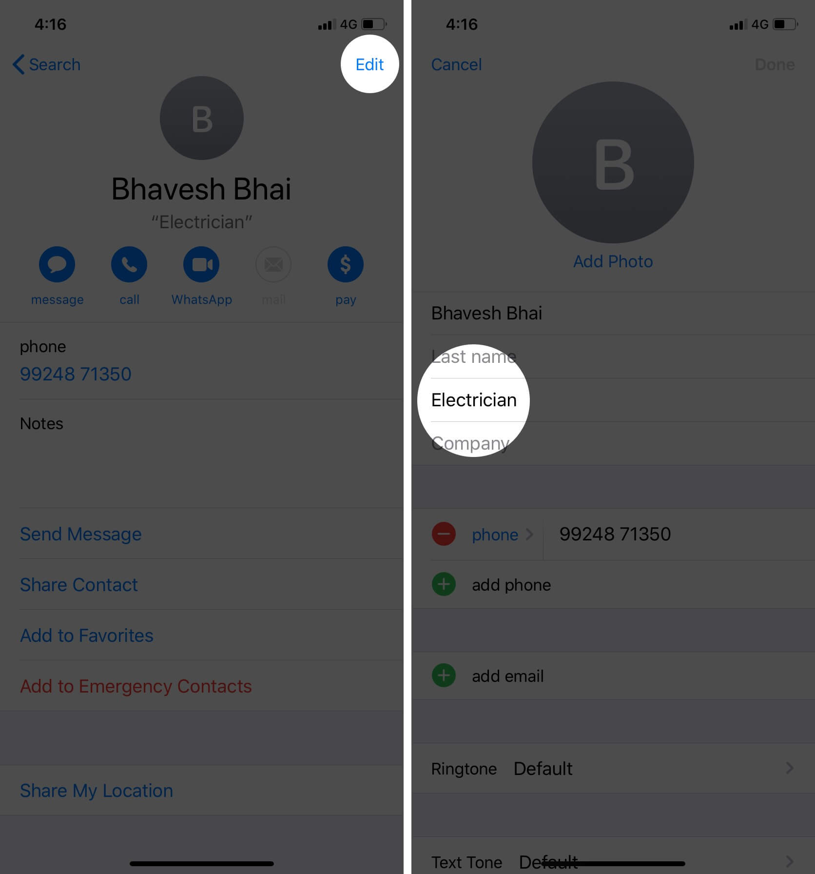 Open iPhone Contacts app and select Contact with nickname