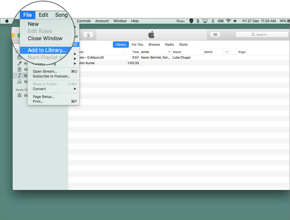 Open iTune on Mac and Select Add to Library in Files Menu