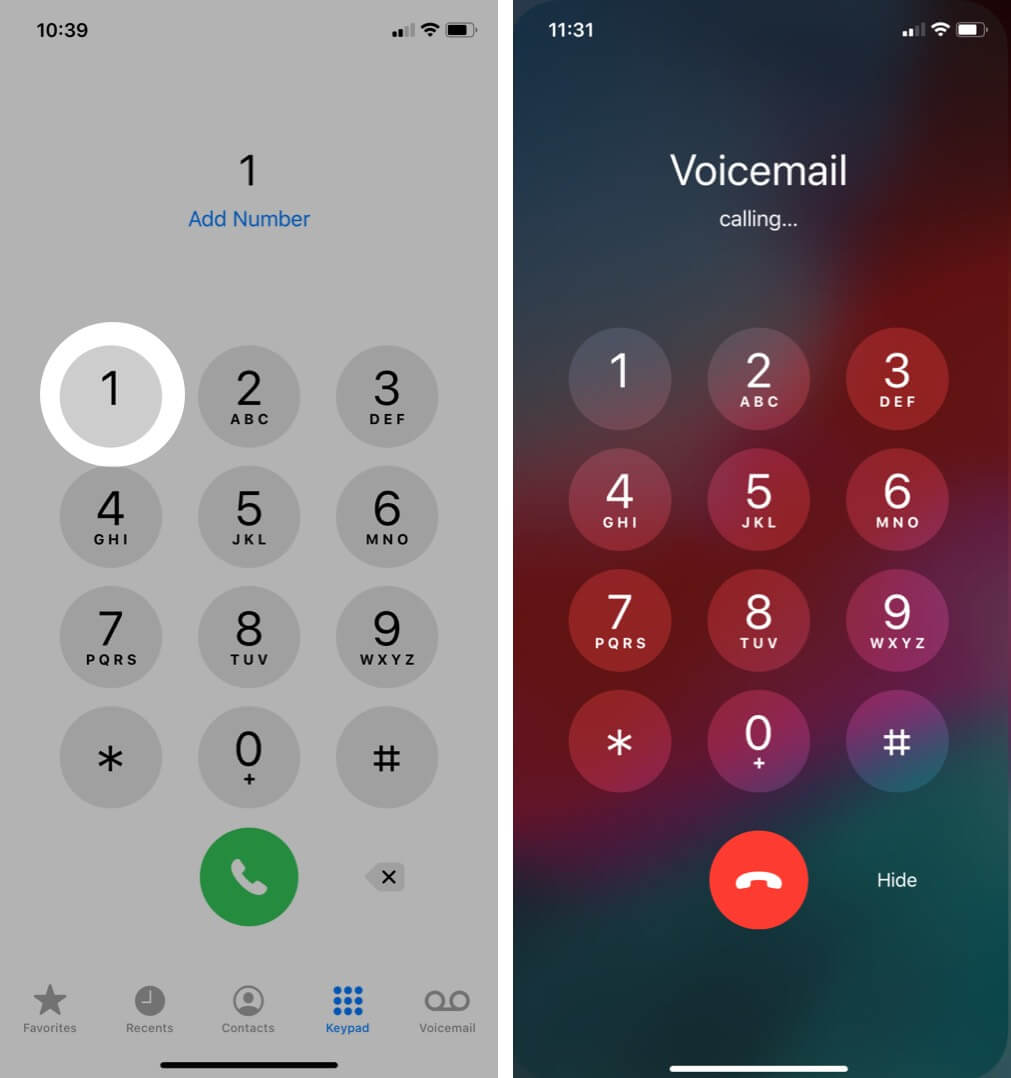Open phone app then Press and Hold Number One then it wil Call Voicemail on iPhone