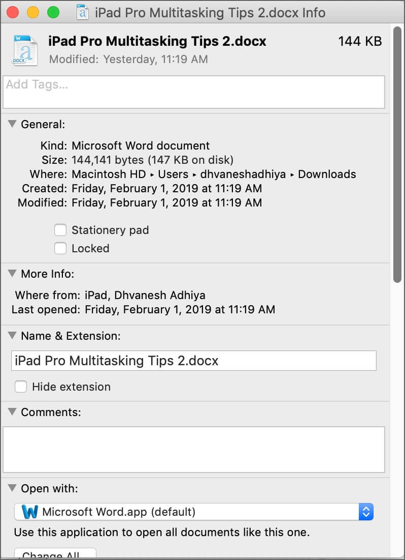 Open the Get info window of the file on Mac