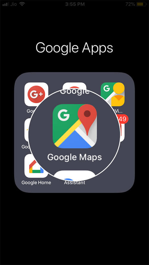 Open the Google Maps App on iPhone