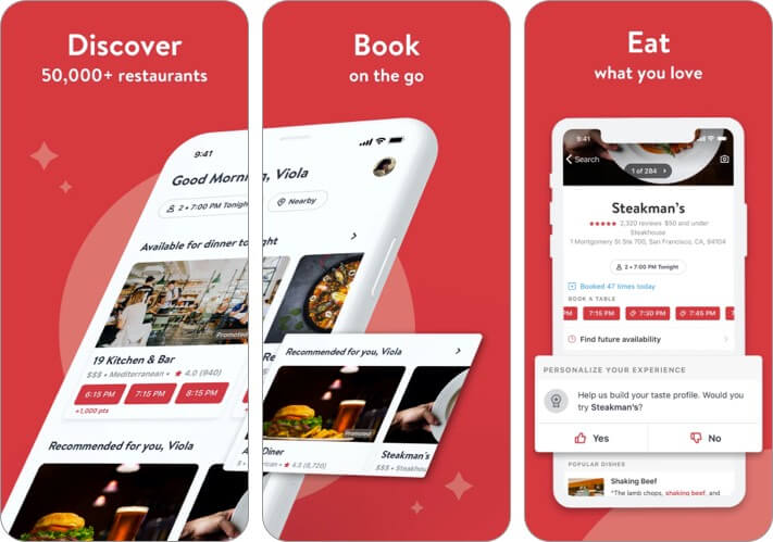 OpenTable Valentine's Day app for iPhone screenshot