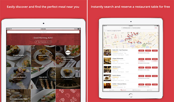 OpenTable iMessage App Screenshot