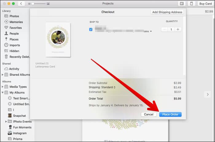 Order a Card in Photos App on Mac