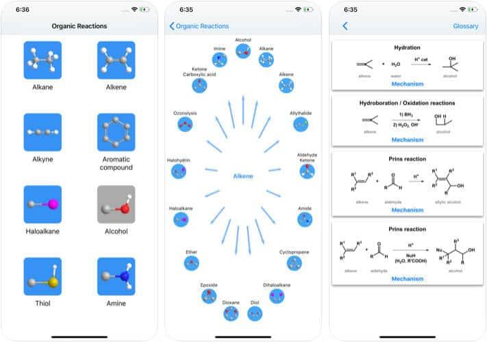 Organic Reactions iPhone and iPad Chemistry App Screenshot
