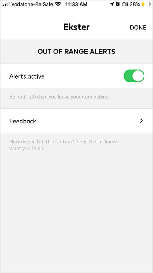 Out of Range Alerts Feature in Chipolo App