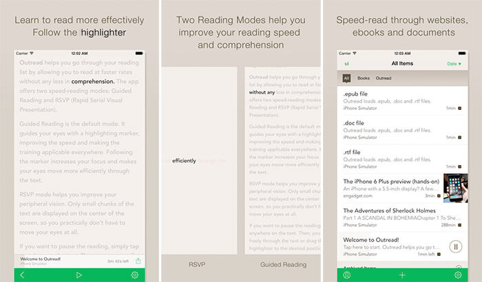 Outread Speed Reading iPhone and iPad App Screenshot