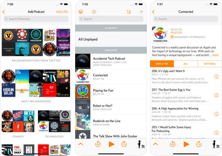 Overcast iPhone and iPad Podcast App Screenshot