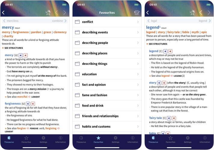 Oxford Learner Thesaurus iOS App Screenshot