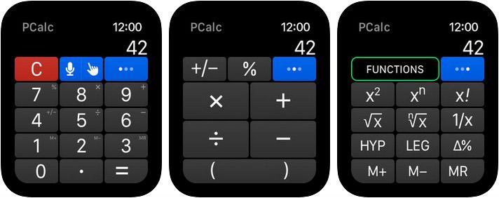 PCalc Apple Watch Calculator App Screenshot