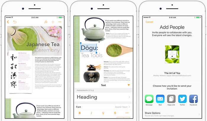 Pages iPhone and iPad Writing App Screenshot