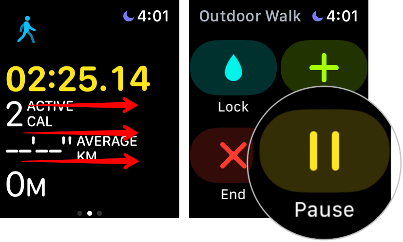 Pause Workout Session on Apple Watch