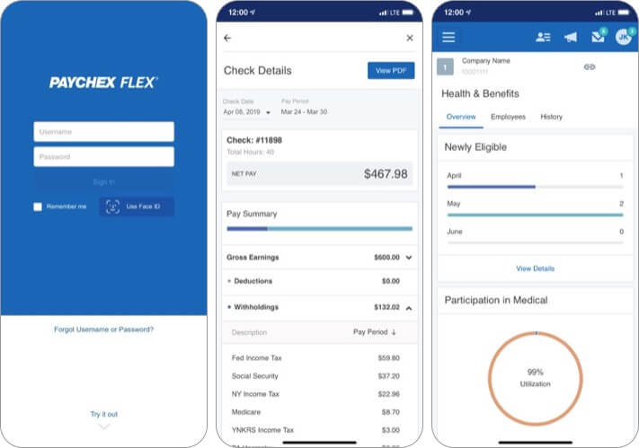 Paychex Flex iPhone and iPad App Screenshot