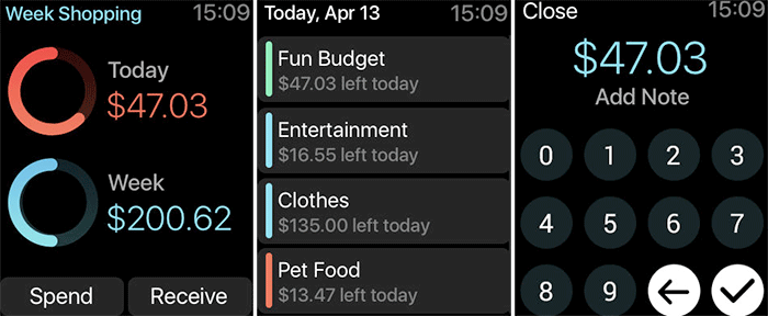 Pennies Apple Watch Expense Management App Screenshot