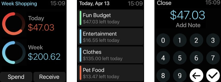 Pennies productivity app for Apple Watch