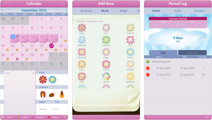 Period Diary iPhone App Screenshot