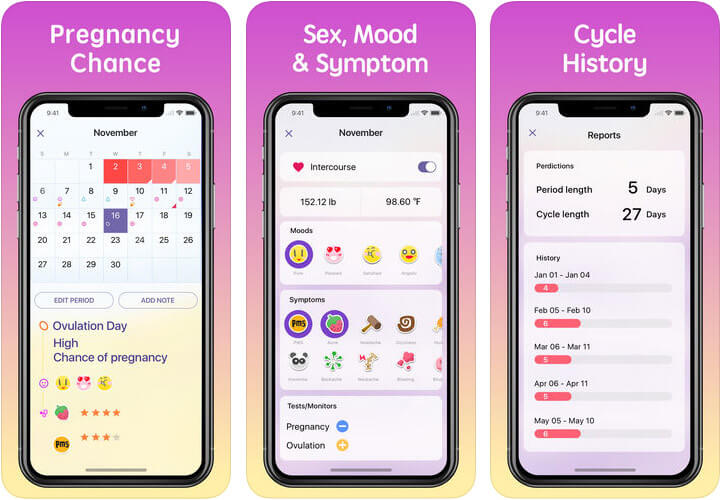 Period Tracker Period Calendar iPhone and iPad App Screenshot
