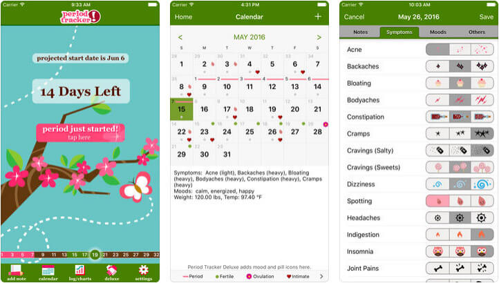 Period Tracker iPhone App Screenshot