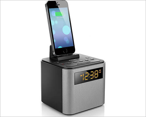 Philips AJT3300 iPhone SE, 5s, and 5 Clock Radio Docking Station