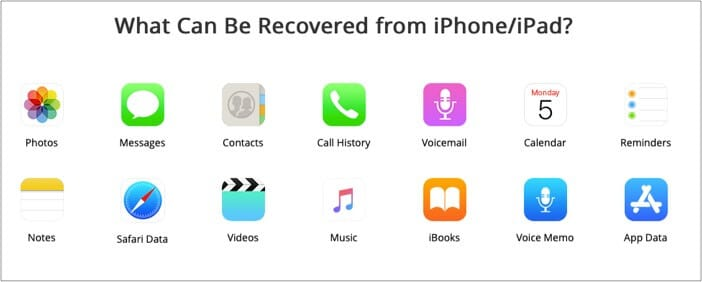 PhoneRescue for iOS supports data from photos messages contacts etc