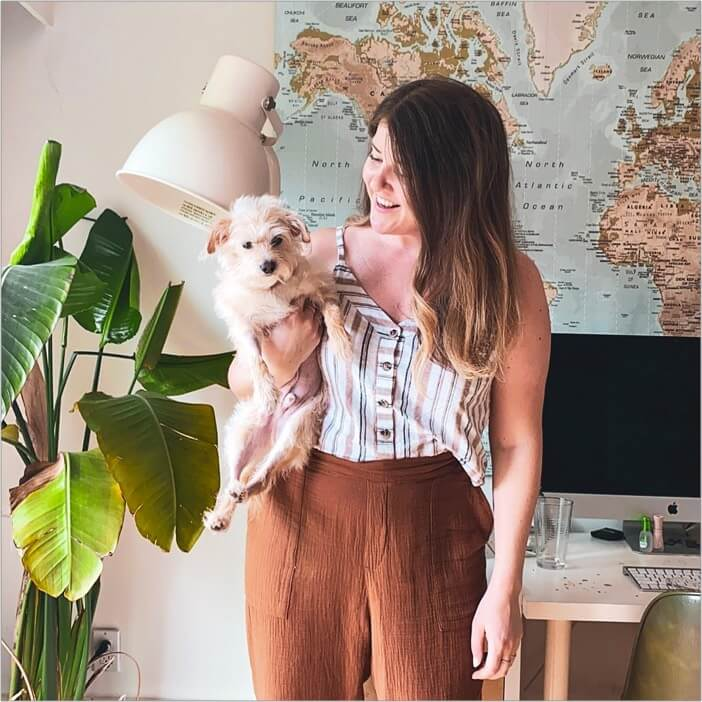 Photo of Life Lapse CEO Sarah and her dog