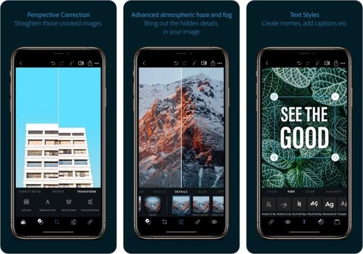 Photoshop Express Graphic Desing iPhone and iPad App Screenshot