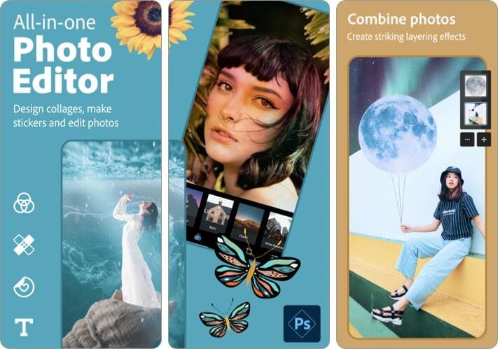 Photoshop Express Photo Editor Combine photos iPhone and iPad App Screenshot