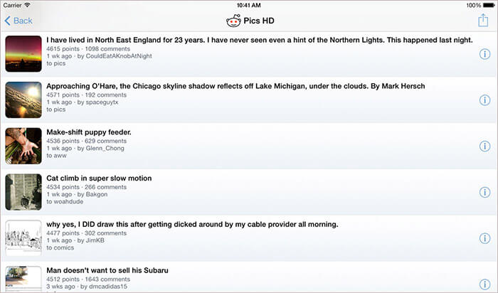 Pics HD for Reddit iPad App Screenshot