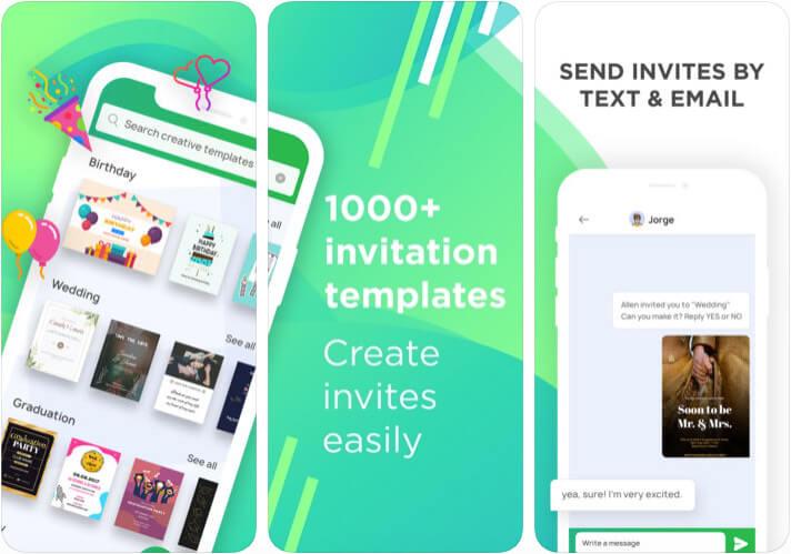 Picthug Invitation Maker iPhone and iPad App Screenshot