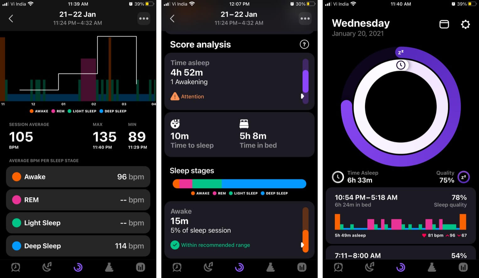 Pillow iPhone app records heart rate analysis and sleep stage diagram